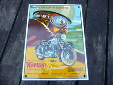 Norton Dominator 1950 Enamel Metal Advertising Sign - Motorcycle Wall Art Plaque