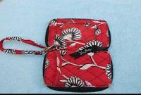 "Vera Bradley Zip Around Clutch/Wallet Red Floral 3 1/2"" x 6"" Preowned..."