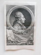 Gravure Originale XVIIIème de LeBrun - Portrait de Necker - 1781