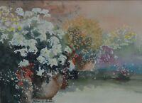 William G Perkins (British 20th Century) Patio Pots Signed  Watercolour