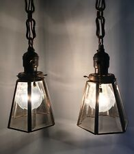 23� Brass Pendant Lights Pair Beveled Glass Shades Antique Vintage 19C