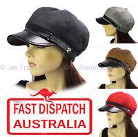 Ladies Woman Newsboy Bakerboy Slouchy Chemo Headcover Sun Visor Hat Cap PU FELT