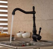Oil Rubbed Bronze Kitchen Sink Swivel Spout Mixer Faucet Single Lever/Hole Taps