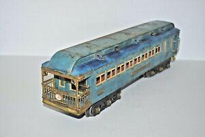 LIONEL PREWAR STANDARD GAUGE 422 TEMPEL BLUE COMET OBSERVATION CAR