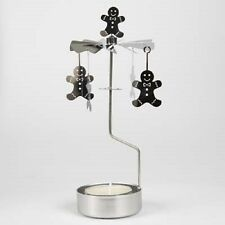 New - Rotary Spinning Carousel Tea Light Candle Holder Silver Gingerbread Man