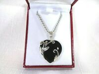 Deceased Estate Natural Heart Cut Black Onyx Solid Sterling Silver Necklace