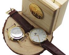 Custom Engraved 24k Gold Leather Mens Gents Luxury Watch Usher Dad Husband