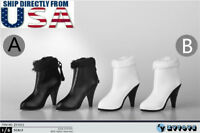 """1/6 Leather Ankle Boots For 12"""" Hot Toys TBLeague PHICEN Female Figure U.S.A."""