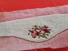 1 Broderie de perles sac minaudière application création bande perles rose 12626