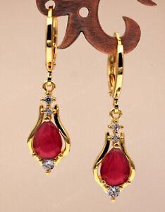 RUBY DIAMOND 18 CARAT GOLD  EARRINGS AAA DROP DANGLE ART NOUVEAU STYLE
