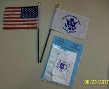Small Coast Guard and USA Flag Combo Stick Flags plus Free RFID Identity Sleeve