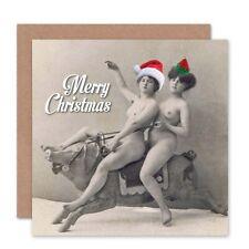 Merry Christmas Xmas Adult Theme Nudes Ride Pig Fun Blank Greeting Card