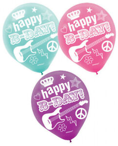 ROCKER PRINCESS Pack of 6 Party Balloons Kids Birthday Decorations