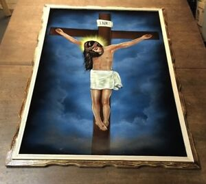 """LARGE JESUS ON THE CROSS VELVET  PAINTING  RELIGIOUS , 38.5"""" BY 26.5"""" .VINTAGE"""