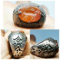 Roman old wonderful Agate intaglio animal seal   silver Ring.   # 97