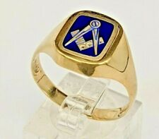 Masonic reversible ring 9 ct gold & blue enamel one side & plain gold  the other
