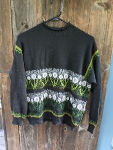 VTG 1980s Benetton Sweater Womens Large Black White Green Dandelion Acrylic Wool