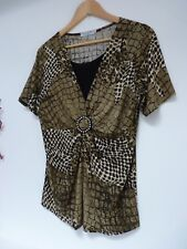"Ladies Fab Casa Donna Green Mix Hip Length Stretch Party Top Size M,Pit 19"" Vgc"
