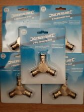 """Silverline 763559 1/2"""" 3 Way Brass Connector. Quick Connect Male. Qty X5"""