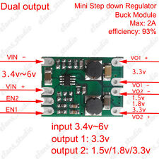 Mini DC-DC Step Down Módulo conversor de alimentación Buck regulador de salida dual 2A