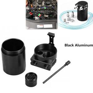 Black Car Baffled Aluminum Oil Catch Can Reservoir Tank Oil Tank Filter Adapters