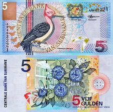 SURINAME 5 Gulden Banknote World Paper Money UNC Currency Pick p146 Woodpecker