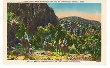 Vintage Linen Unused Postcard Horse-Back Riders Near Skyland, Va Shenandoah Park