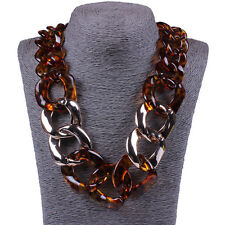 Wild Retro Resin Sweater Chain Statement Necklace Leopard Pendant Womens Jewelry