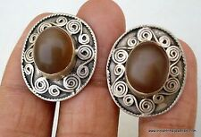 Vintage Antique Tribal Old Silver Ear Stud Earrings Ind