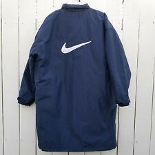 Vintage 90s NIKE Stadium Jacket XL Long Parka Blue Big White Swoosh Winter Coat