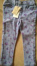 BNWT  Pumpkin Patch girl 2 years blue floral jeans adjustable waist trousers