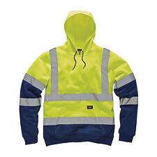 Dickies Two Tone Hi-Vis Hoodie Yellow & Navy (Various Sizes) Men's Work Jumper