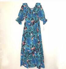 HILO HATTIE Blue Hawaiian Floral Print Muumuu Dress Small