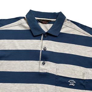 Vintage Paul & Shark Polo Shirt | Large L | Blue & Grey Striped Soft + Stretch