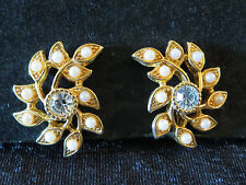 Vintage High Quality Faux Pearl Clear Rhinestone Statement Gold Tn Clip Earrings