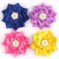 "10PCS 7.5CM 2.95""  Lotus Leaf Flowers With Pearl Rhinestone Embellishment Head"