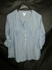 Old Navy XL Blue Popover Shirt Half Button V Neck Rolled Sleeve Cuffs Cotton XL