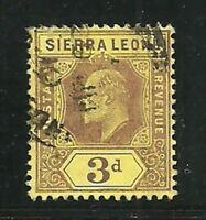 Album Treasures Sierra Leone Scott # 95  3p  Edward VII  VF Used CDS