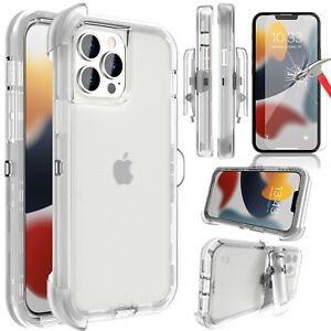 For iPhone 13 Pro Max, Mini Case Clear Cover/Belt Clip Holster/Screen Protector