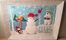 Feliz Navidad Ceramic Christmas Holiday Serving Platter St. Nicholas Square