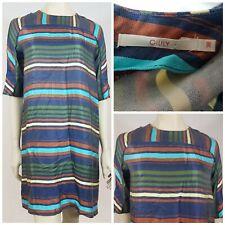 Oilily Multi Colour Stripe Shift Dress Loose Fit Size UK 10 EUR 38