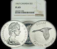 1967 CANADA GOOSE SILVER $1 DOLLAR BU NGC PL65 PROOF LIKE COIN IN HIGH GRADE