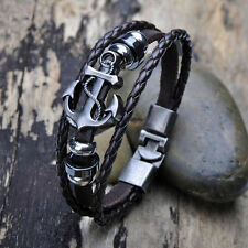 Vintage Men's Metal Anchor Steel Studded Surfer Leather Bangle Cuff Bracelet UK