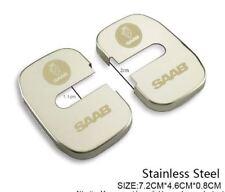 SAAB Door Lock Covers  + Logo -  Stainless Steel for SAAB 9-3 2003 onwards.