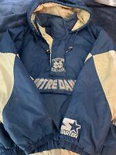 Vintage Rare Starter Notre Dame Jacket Large Quarter Zip Navy Blue