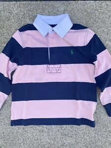 Ralph Lauren Boy's Long Sleeve Striped Rugby Top Polo Shirt Pink And Navy Stripe