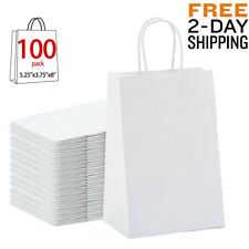 White Paper Shopping Bags With Handle Craft Retail Merchandise Gift Party 100Pcs
