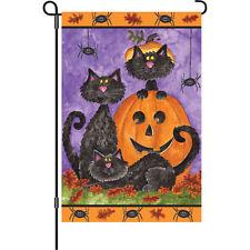 """Three Black Cats"" 12"" Halloween Garden Flag by Premier"
