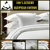 T300 Hotel Quality Satin Stripe Duvet Quilt Cover with Pillow Case Bedding Set