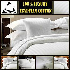 T300 Hotel Quality Satin Stripe Duvet Quilt Cover With Pillow Case Bedding Set White Double